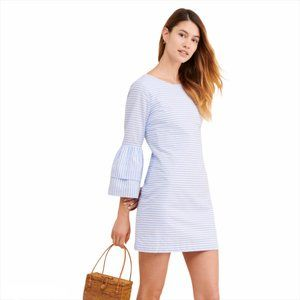 🛍 English Factory Blue Striped Bell Sleeve Dress